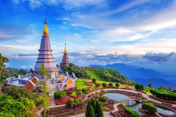 Wall Mural - Landmark pagoda in doi Inthanon national park at Chiang mai, Thailand.