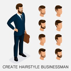 Trendy isometric set 1, qualitative study, a set of men's hairstyles, hipster style. Fashion Styling, beard, mustache. The style of today's young businessman. Vector illustration