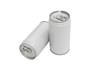 White beverage cans on a white background (with clipping path).