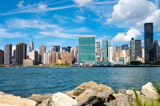 The midtown Manhattan skyline on a beautiful summer day