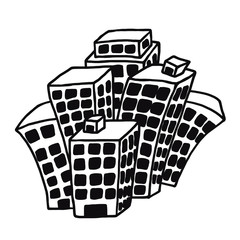 many building / cartoon vector and illustration, black and white, hand drawn, sketch style, isolated on white background.