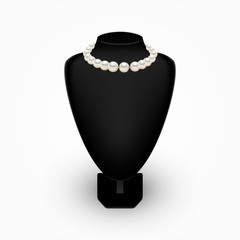 Shiny realistic Pearl necklace on Black mannequin bust, vector illustration