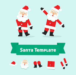 Funny dancing santa claus vector illustration isolated, flat style father christmas in dance