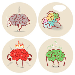 Brain cartoon, various kinds of bad habits. Anger, addict, poisoning, smoking. Vector isolated set of images