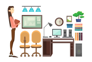 Business Woman In Office Workplace, Businesswoman Hold Paper Contract Documents Flat Vector Illustration