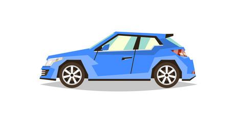 Blue car hatchback. Side view. Transport for travel. Gas engine. Alloy wheels