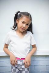 The kid girl enjoy ,feeling acting , Asian girl ,happiness