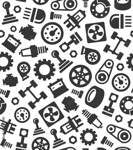 Auto Car Spare Parts Seamless Pattern Background Vector Stock