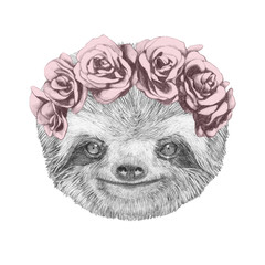 Portrait of Sloth with floral head wreath. Hand-drawn illustration.