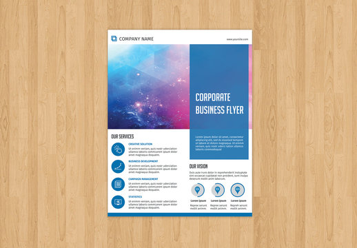 Corporate Flyer Layout with Blue Accents