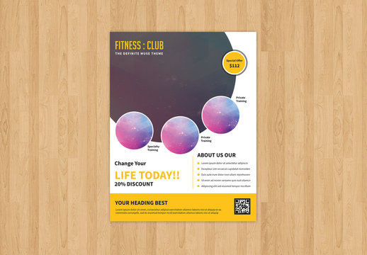 Fitness Club Flyer Layout 1