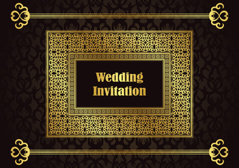 Wedding invitation with a gold frame and borders on seamless background
