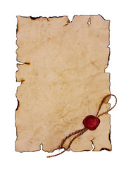 Old parchment with red sealing wax