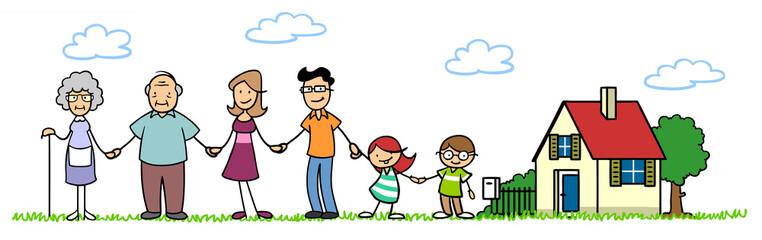Familie und Kinder vor Einfamilienhaus