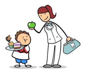 Zahnarzt mit Obst und Kind mit Junk Food
