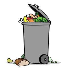 Volle Mülltonne mit Lebensmittel als Biotonne