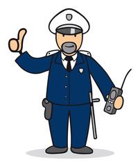 Cartoon Mann bei Polizei hält Daumen hoch