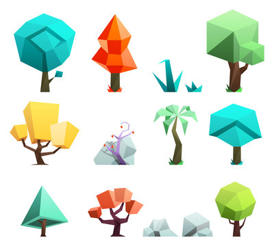 Low poly trees rocks grass icons set vector illustration