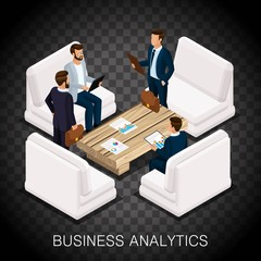 Trendy isometric businessmen, business center, analytics, modern furnishings, high-quality work. Create business ideas, planning on a transparent background. Vector illustration