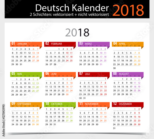 deutsch kalender 2018 german calendar 2018 stockfotos und lizenzfreie vektoren auf fotolia. Black Bedroom Furniture Sets. Home Design Ideas