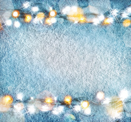 Christmas snowy background with garland. Top View. Merry Christmas and Happy New Year!!
