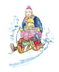 Mother and daughter sledding, isolated  hand painted watercolor illustration