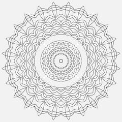 Mandala illustration. Circular intricate pattern. Lace circle design template. Abstract geometric mono line background.