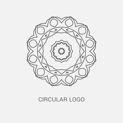 Logo design template, creative intricate  monogram, abstract round emblem, mono line decorative icon, vector mandala illustration