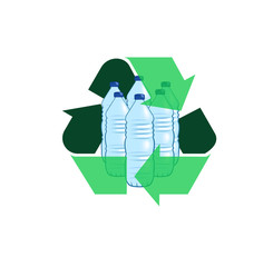Vector image of water bottles with recycling symbol