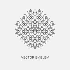Logo design template, creative intricate monogram, abstract round emblem, mono line decorative icon, vector illustration