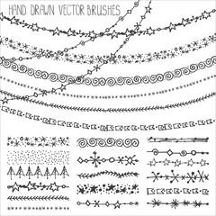 Winter garland brushes set.Christmas doodles.Black