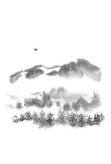 Japanese style sumi-e mountain bird ink painting.