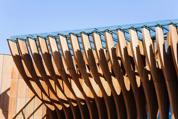 russian wooden structure detail against blue sky