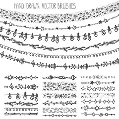 Winter garland  brushes.Christmas doodle set.Black