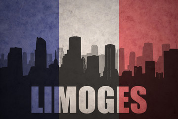 abstract silhouette of the city with text Limoges at the vintage french flag
