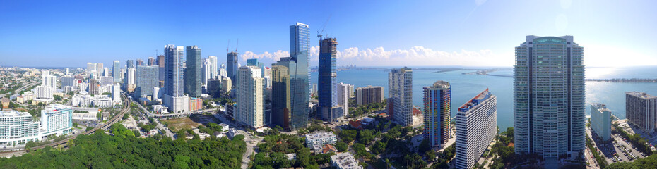 Aerial image of Brickell Miami FL highrise buildings