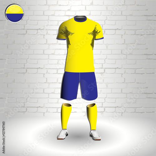 4f4540a31 eps 10 vector football Ukraine team player uniform template. National  colors sportwear. Ukrainian flag button chrome ring. Brick wall background