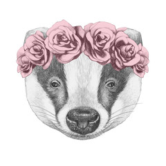 Portrait of Badger with  floral head wreath. Hand-drawn illustration.