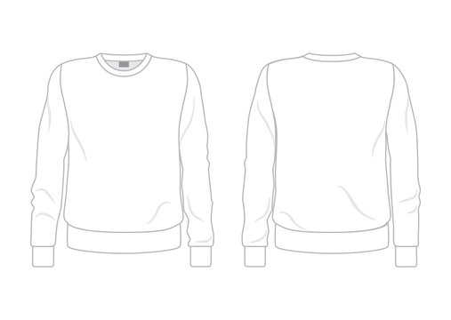 White men's sweatshirt template, front and back view