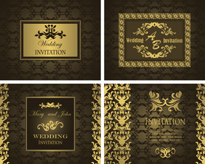 Set of wedding invitations in vintage style