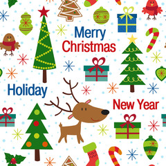 seamless pattern with christmas trees and decorations - vector illustration, eps