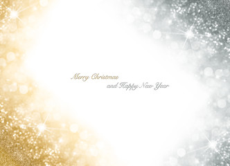 Christmas card with bright gold and silver sparkly background