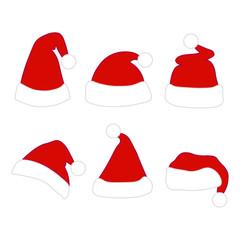 Santa christmas hat vector illustration. set icons