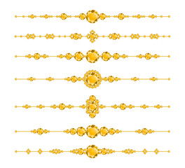 Luxury dividers with yellow diamonds. Luxury brilliant design with golden bright crystals. Vector illustration