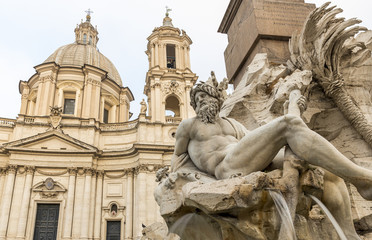Bernini's four rivers fountain sculpture, in the Piazza Navona, Rome, Italy
