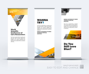 Business vector set of modern roll Up Banner stand design with t