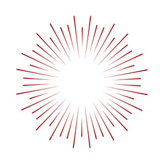 Rays radiating from a center. Linear drawing of rays of the sun. Design elements for your projects. Sunburst frame illustration.