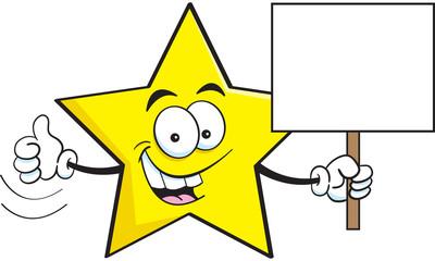 Cartoon illustration of a star holding sign.