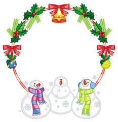 Round frame with Christmas decorations and snowman. Christmas design element.