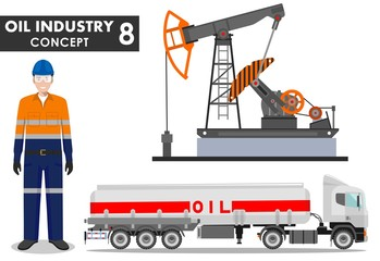 Oil industry concept. Detailed illustration of gasoline truck, oil pump and worker in flat style on white background. Vector illustration.